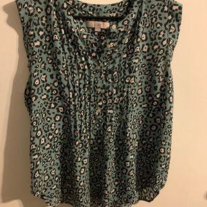 Loft blue leopard blouse